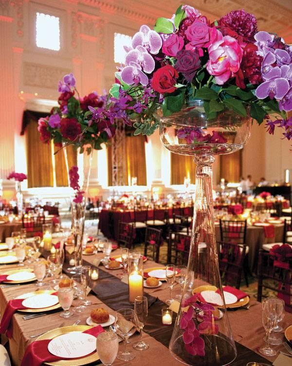 centros de mesa para bodas flores gama color purpura ideas