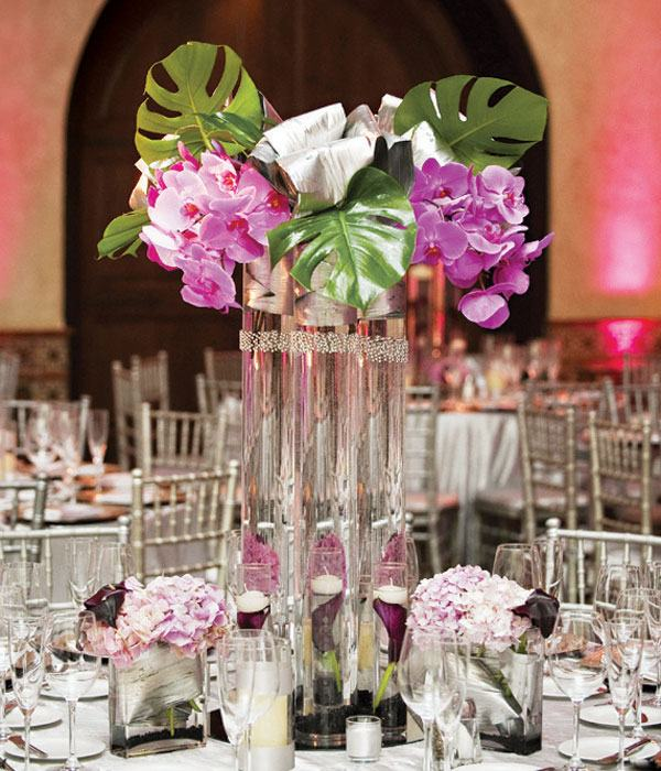 centros de mesa para bodas primavera orquidea purpura ideas