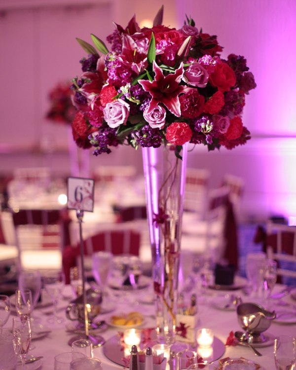 centros mesa bodas color rojo flores ideas