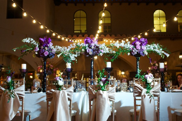 centros mesa bodas exterior gurnaldas luz ideas
