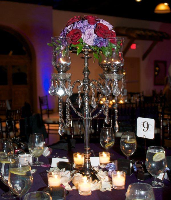 centros mesa bodas imita candelabro acero rosas ideas