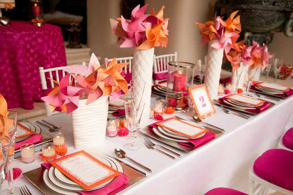 centros mesa bodas opciones papel colorido ideas