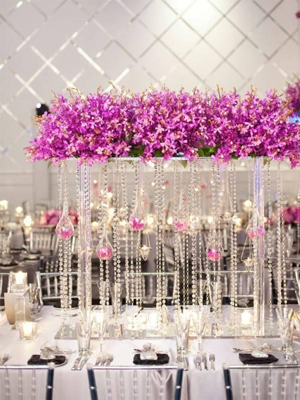 centros mesa bodas precioso purpura ideas