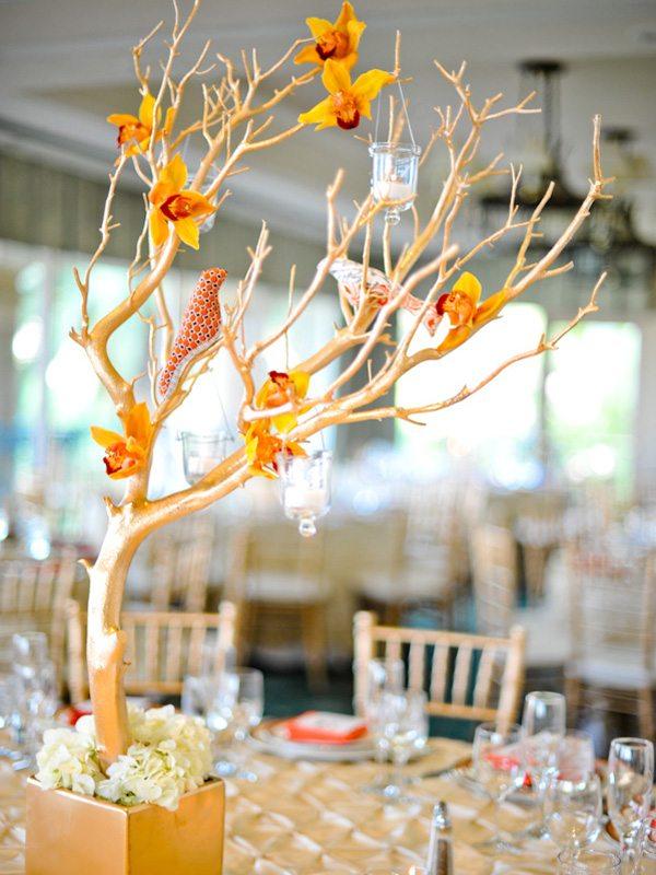 centros mesa bodas rama pajaros ideas
