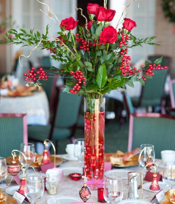 centros mesa bodas rosas rojas ideas