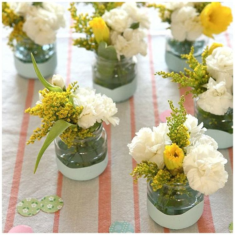 centros mesa pequeñas flores