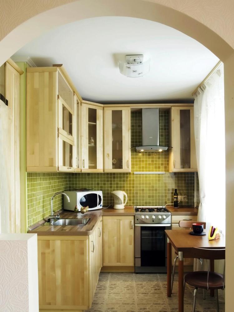 cocina pequeña muebles madera laminada