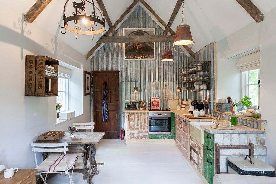 cocina estilo retro pared chapa