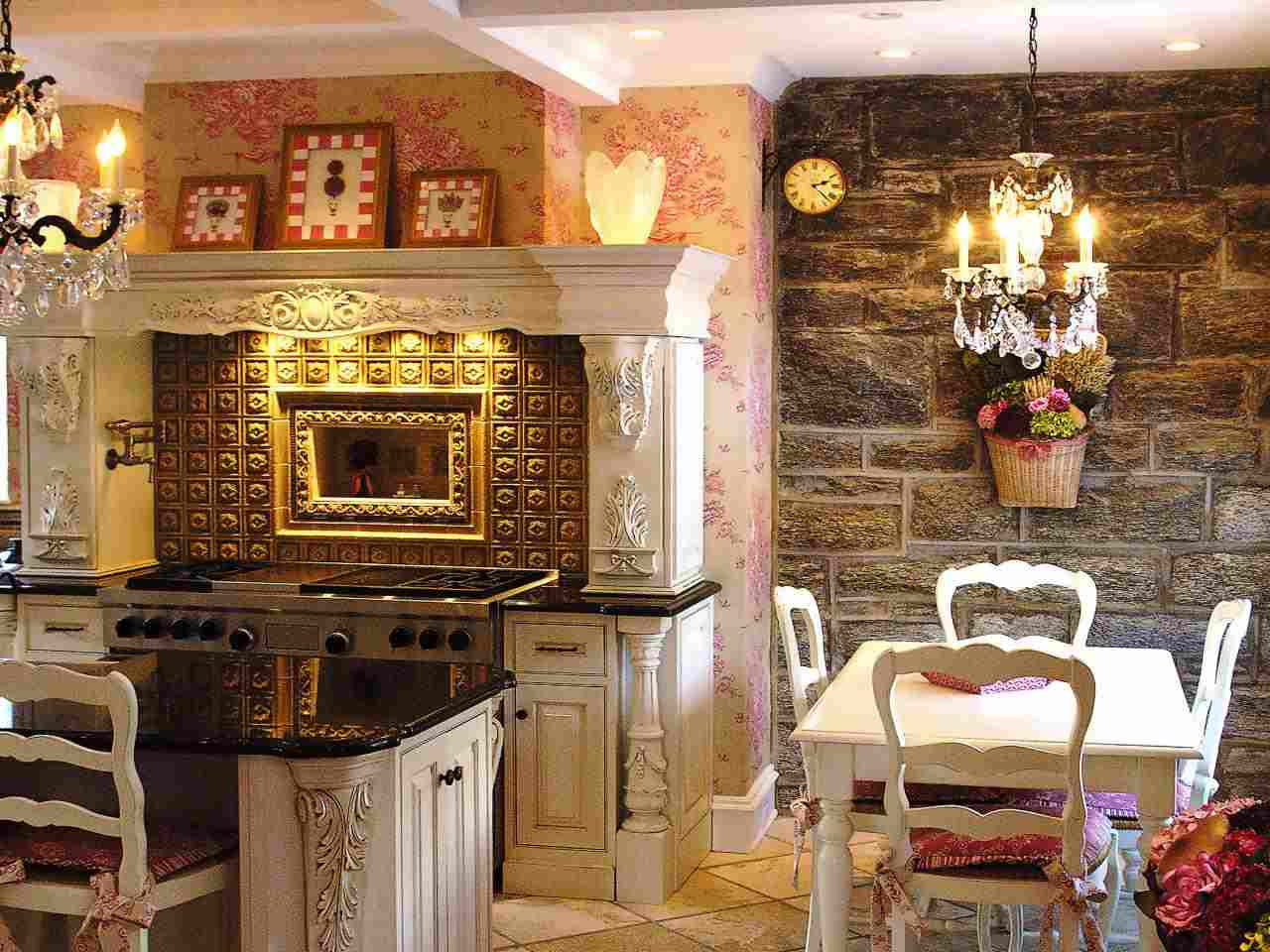 cocina shabby chic pared piedra