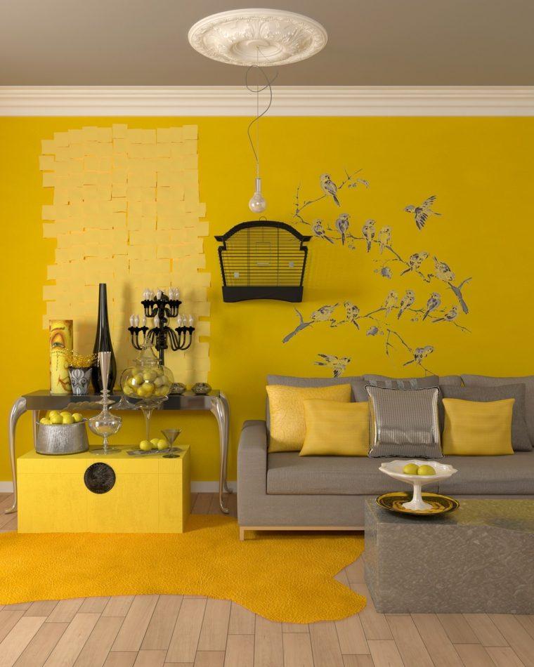 color amarillo accentos salon pared amarilla ideas
