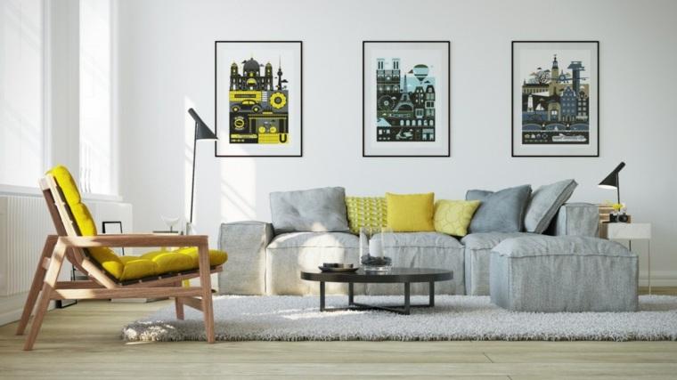 color amarillo color gris salon moderno ideas