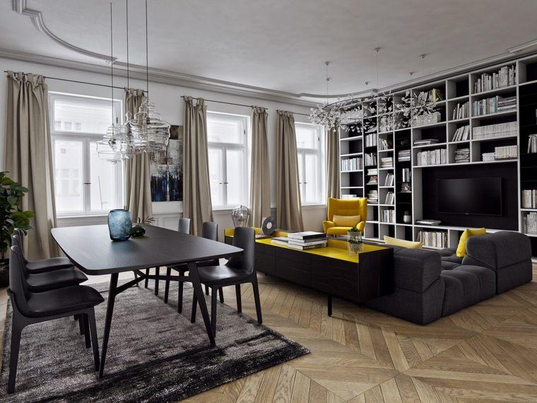 color amarillo color negro muebles salon ideas