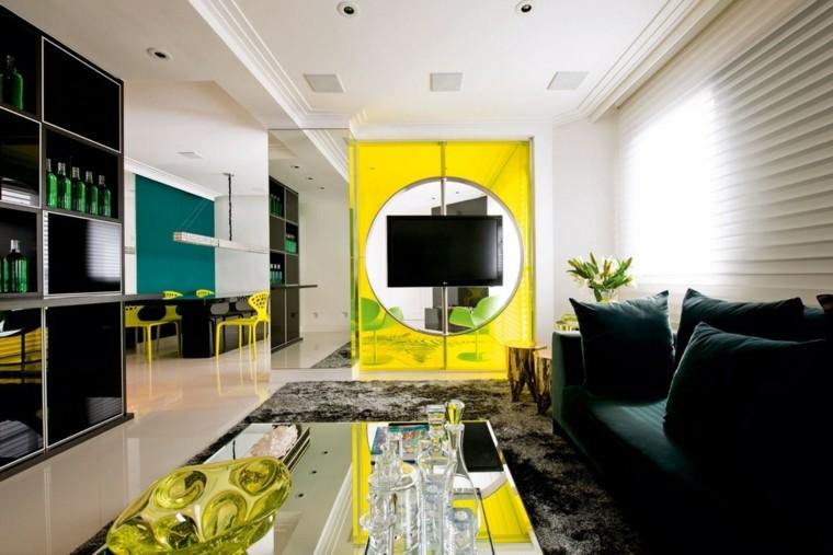 color amarillo pared salon moderno ideas