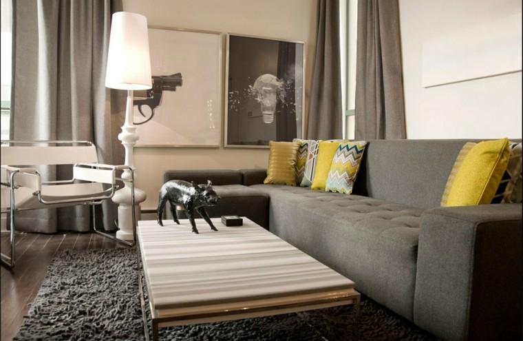 color amarillo sofa gris salon oscuro ideas