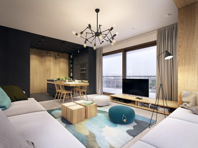 color turquesa negro maderas secciones