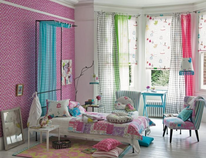 colores claros pared cortinas dormitorio ideas