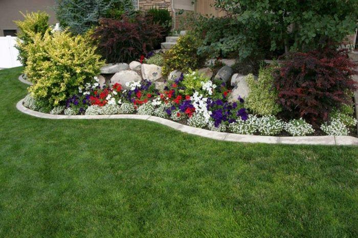 coloridas flores detalle decoracion rocas