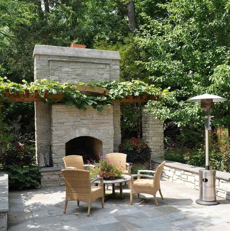 combinacion rustico moderno jardin chimenea pergola ideas