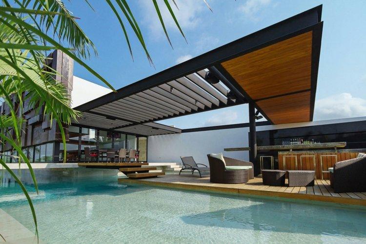 combinacion terrazas colores salas metales maderas