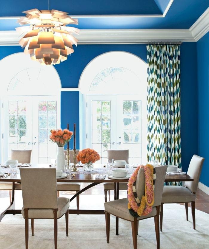 comedor paredes azules flores primavera mesa ideas