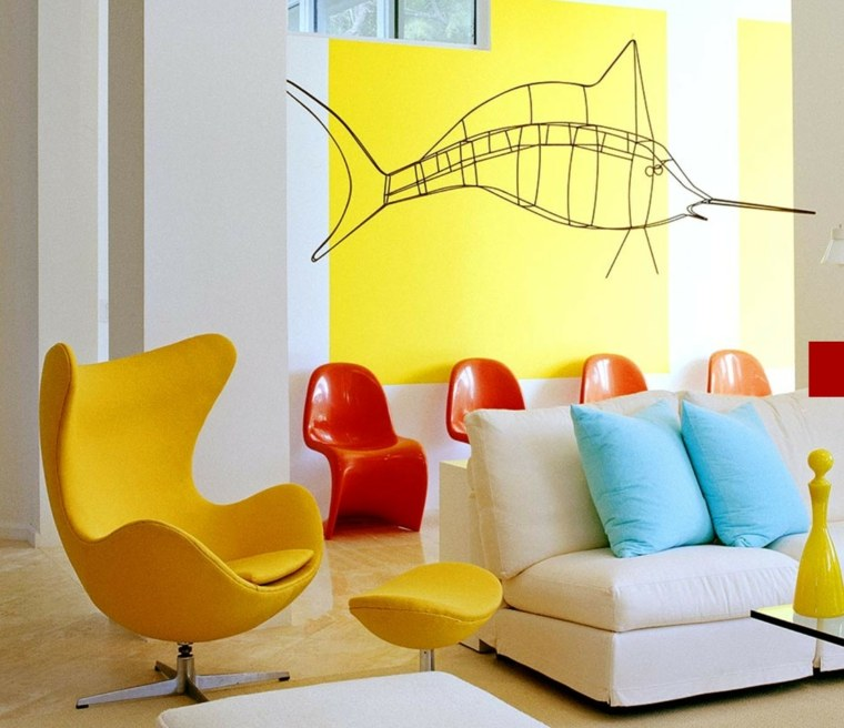 contemporaneas paredes pez amarillo rojo