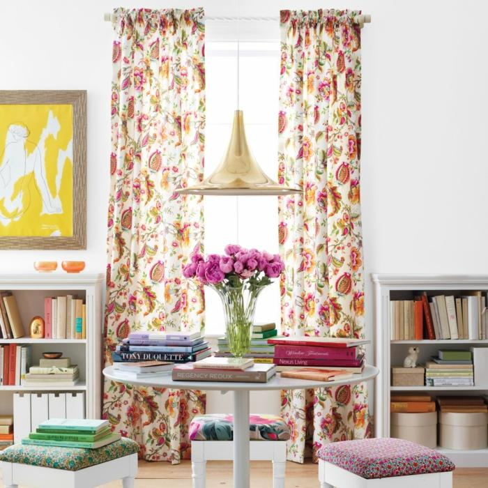 cortina estampa floral taburetes tela ideas