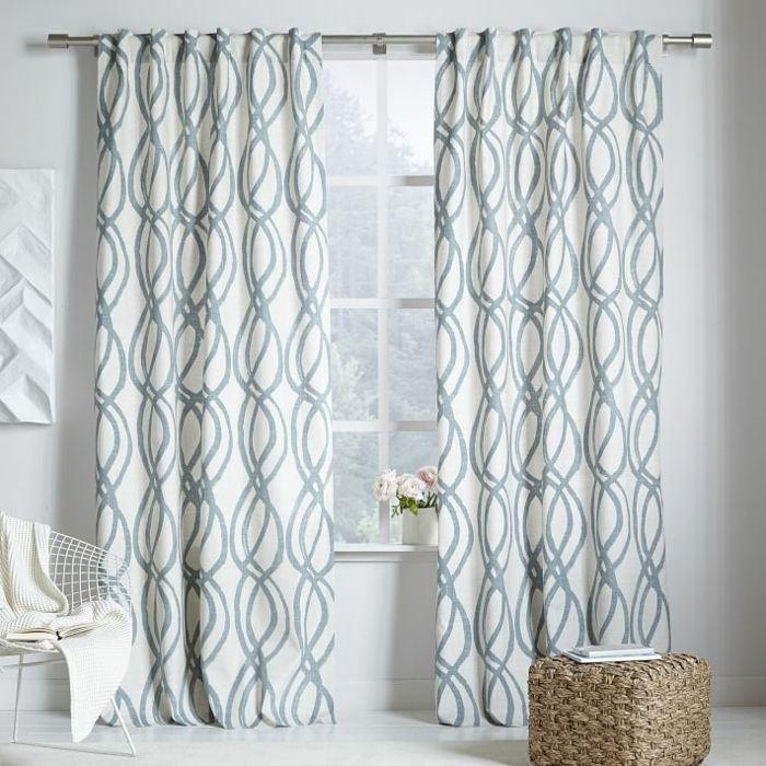 cortinas algodon azul claro blanco ideas