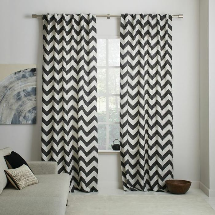 cortinas algodon zigzag blanco negro estampa ideas