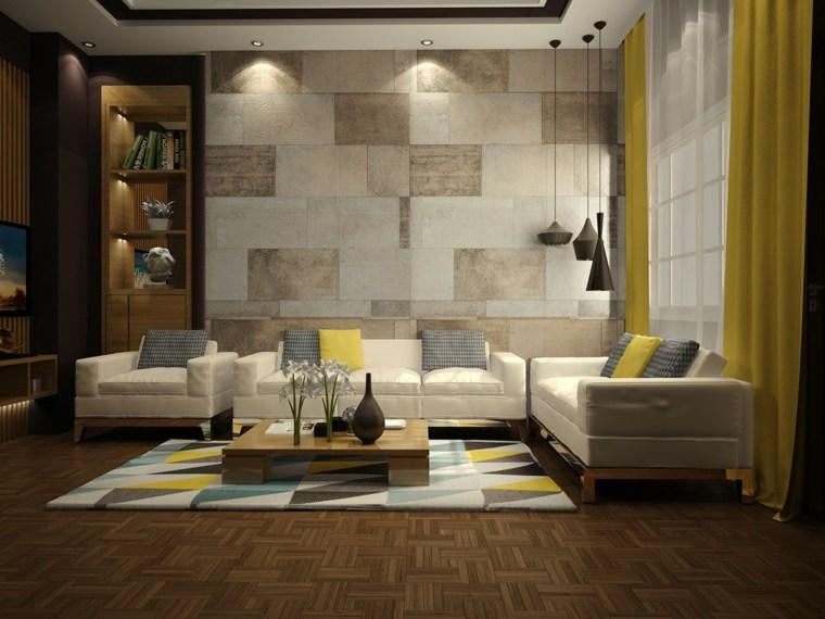 cortinas amarillas salon amplio moderno ideas