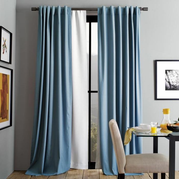 cortinas azules comedor moderno ideas