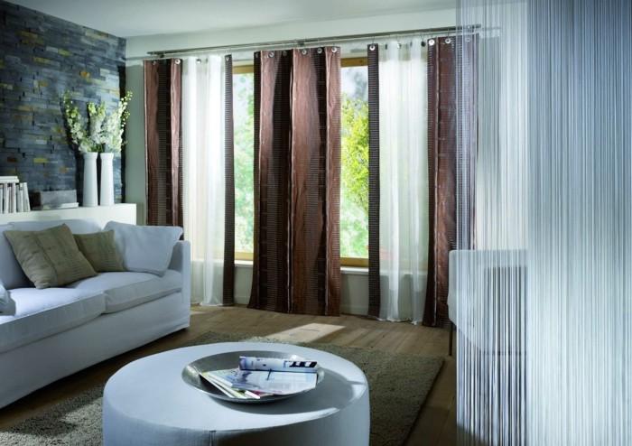 cortinas combinacion blanco marron oscuro salon ideas
