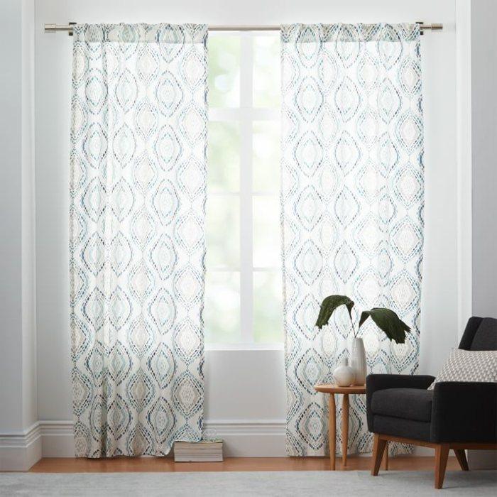 cortinas estampa mosaico algodon modernas ideas