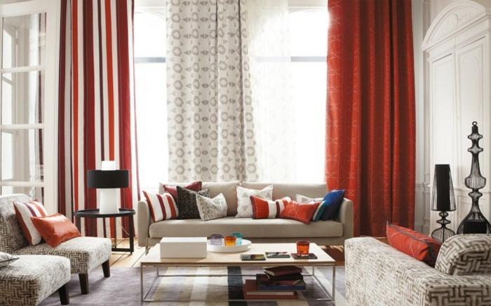 cortinas modernas enriquecen hogar color rojo ideas