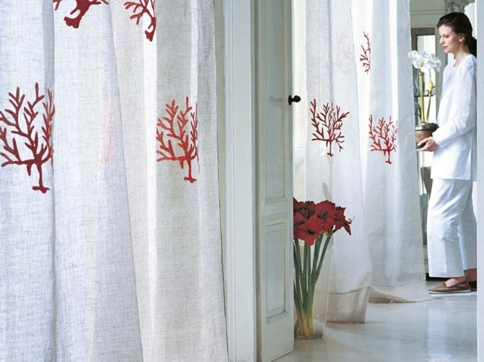 cortinas modernas enriquecen hogar coral rojo estampa ideas