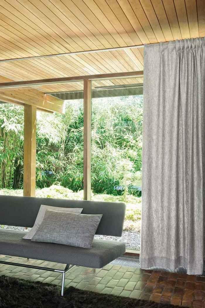 cortinas modernas enriquecen hogar gris ideas