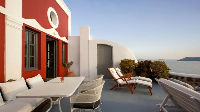 costa mediterranea terraza grecia casa roja ideas
