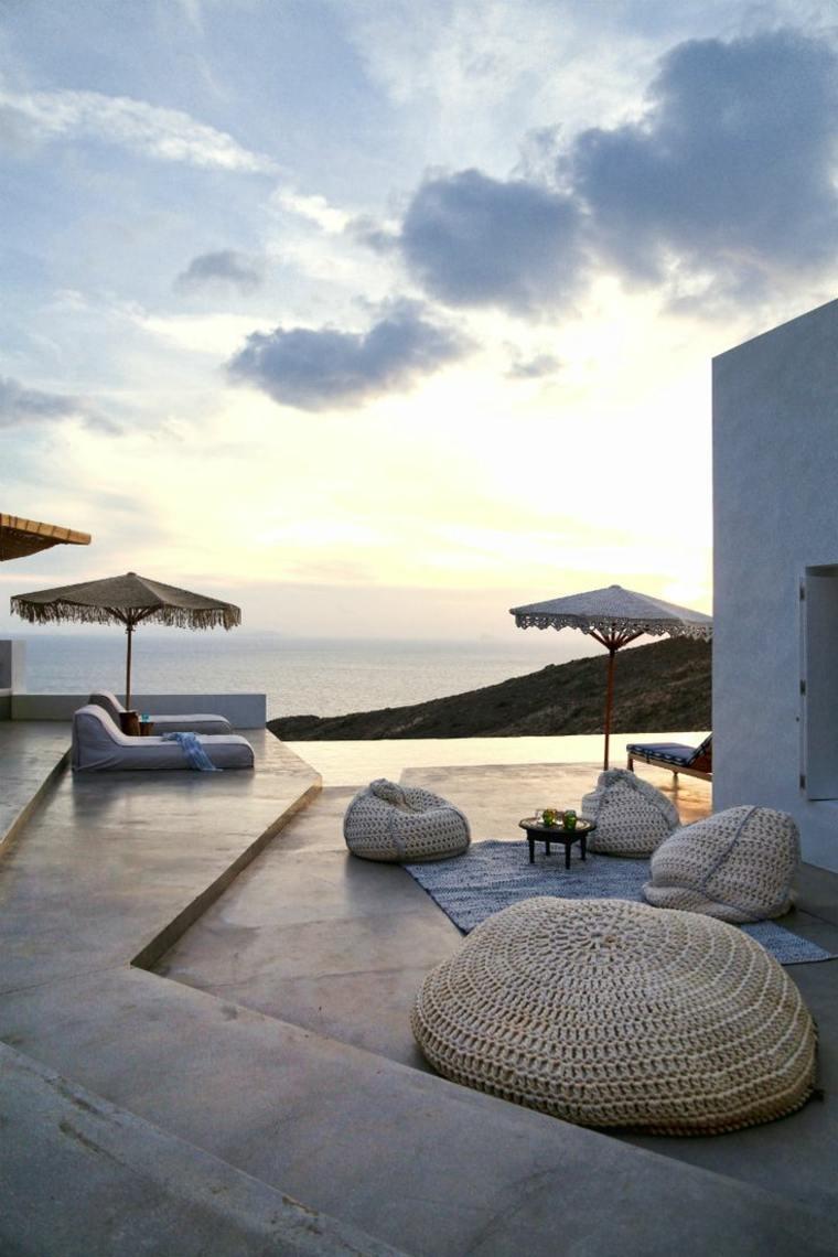 costa mediterranea terraza grecia otomanas aire libre ideas