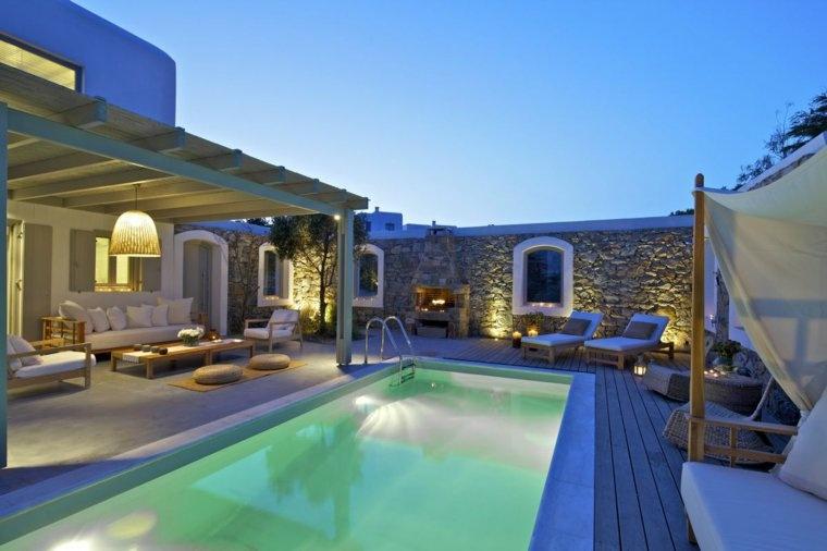 costa mediterranea terraza grecia patio piscina ideas