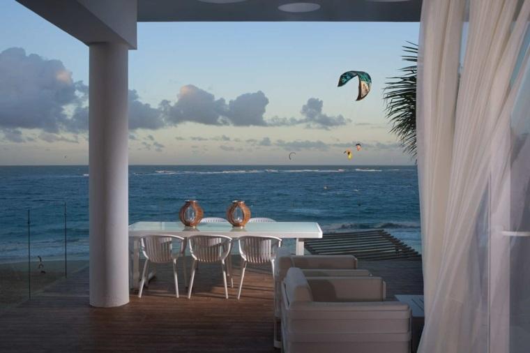 costa miditerranea terraza grecia pergola mesa blanca ideas