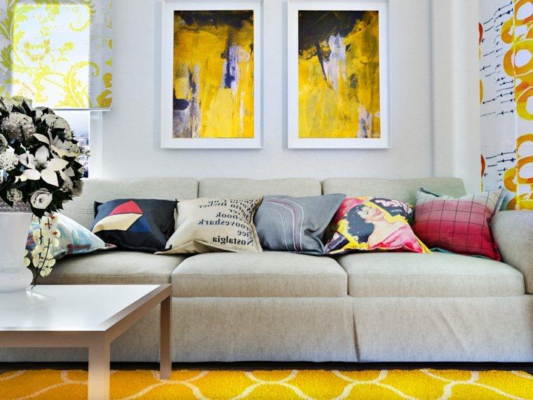 cuadros amarillos salon moderno ideas