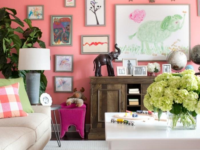 cuadros pared plantas salon colorido moderno ideas