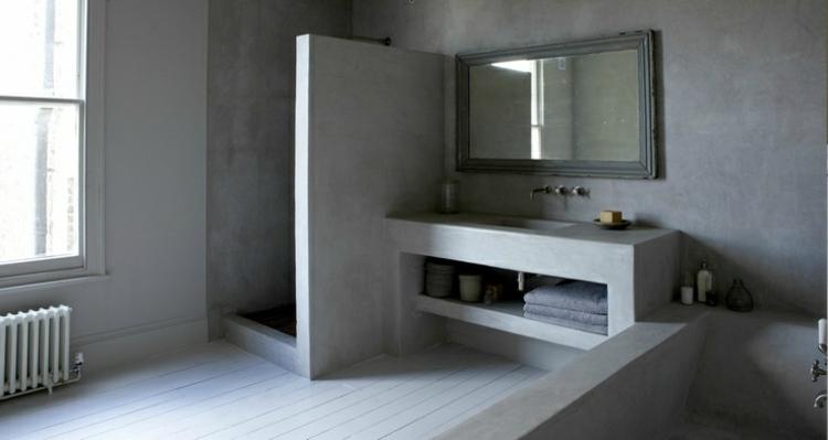 cuarto baño muebles cemento concreto