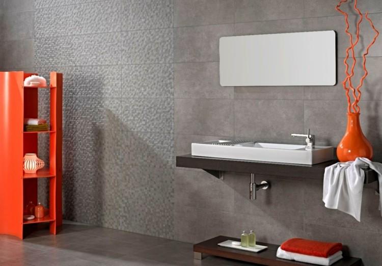 cuarto baño decoración cementop naranja