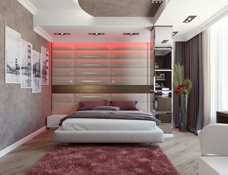 cuarto moderno luces Led rojas