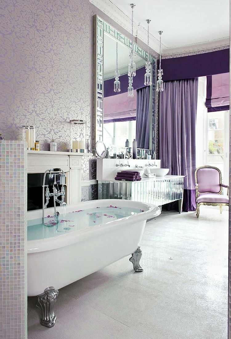 decoración baño de color lila