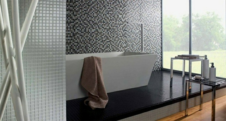 decoración cuarto baño pared mosaico