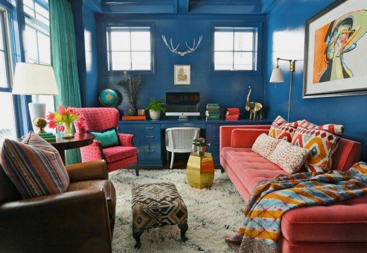 decoración boho paredes azules