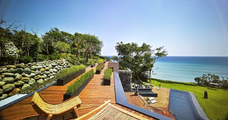 deco jardines terrazas modernas rocas