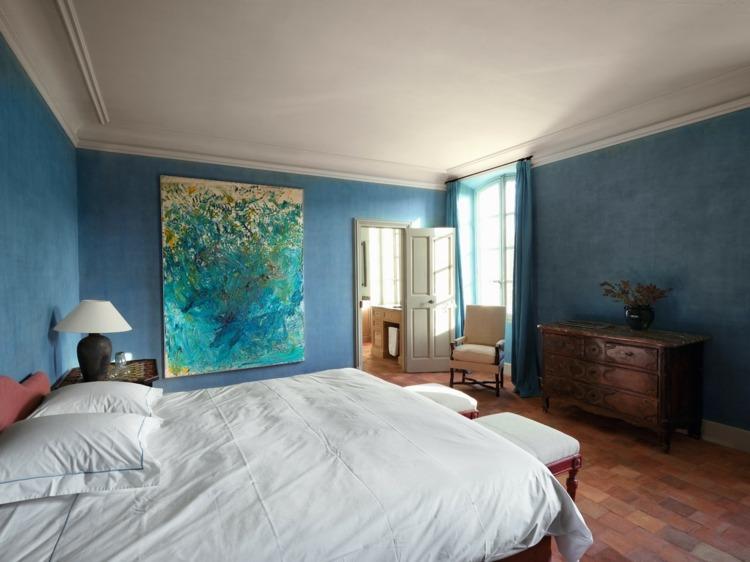 decoración paded estuco azul