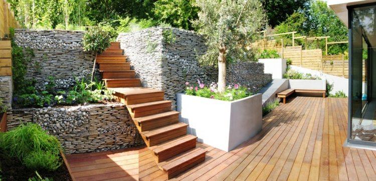 Jardines modernos con terrazas y gradas 50 dise os - Terrazas y jardines ...